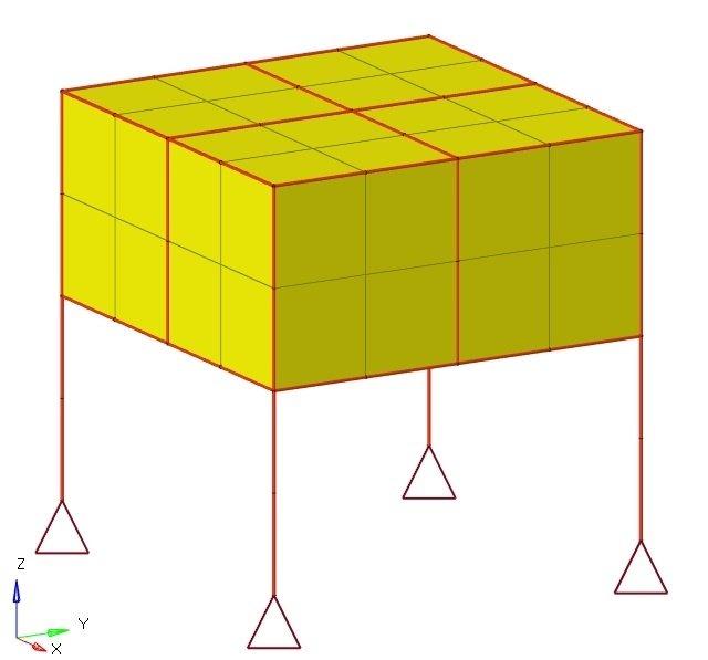 直方体を柱で支えたFEMモデル
