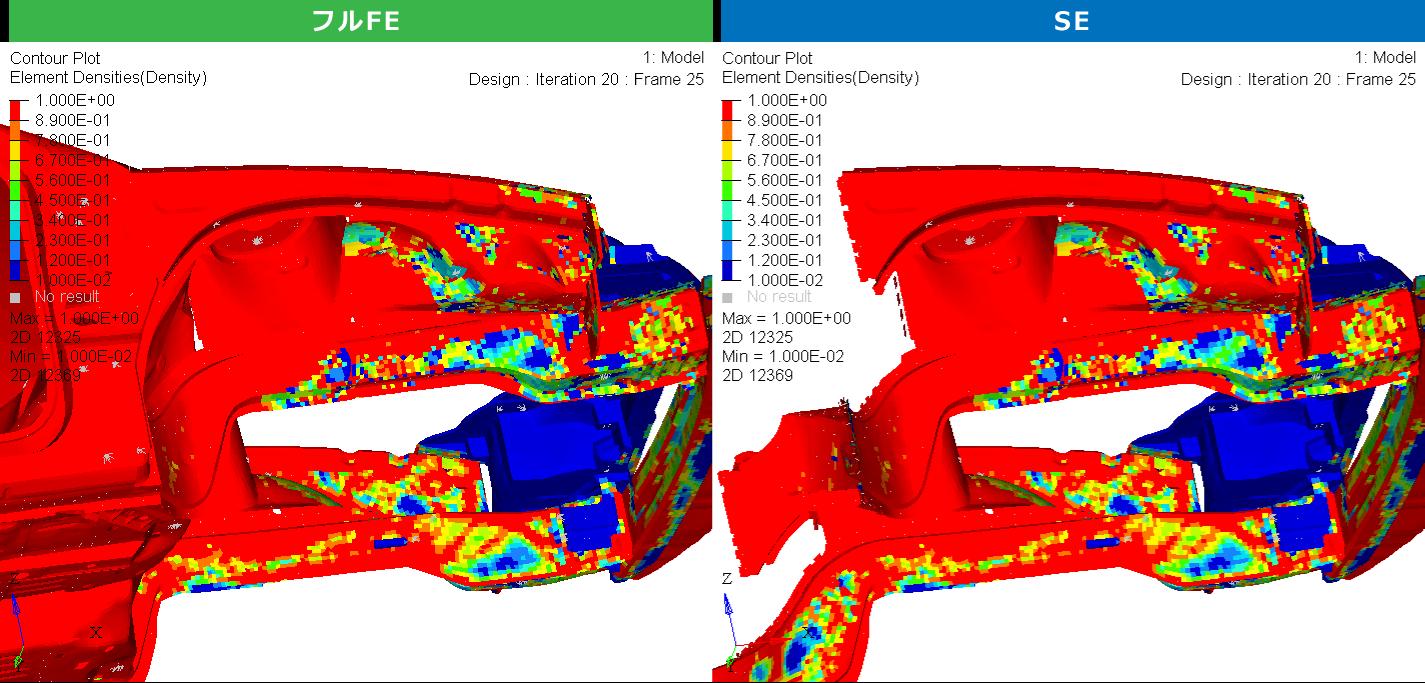 エンジンルーム部材のトポロジー最適化結果 (要素密度)