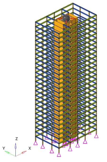 過渡応答解析の設定を行ったビルディングのモデル