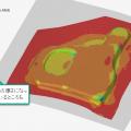 図 1: Altair Inspire Formによるプレス成型後の板厚分布(メートル表記)