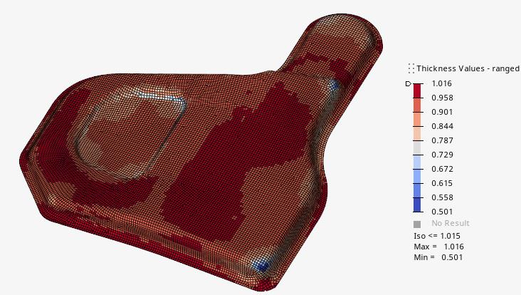 図 2: 板厚をマッピングしたAltair OptiStructモデル(ミリメートル表記)